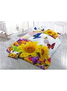 Attractive Sunflower 4-Piece High Density Satin Drill Duvet Cover Sets