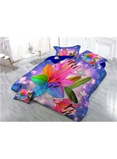 Gorgeous Dreamlike Flower 4-Piece High Density Satin Drill Duvet Cover Sets