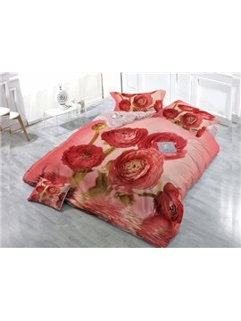 Sweet Pink  Carnation 4-Piece High Density Satin Drill Duvet Cover Sets