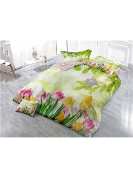 Greenery Blossom 4-Piece High Density Satin Drill Duvet Cover Sets