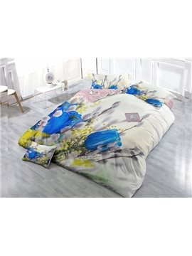 Blue Rose  4-Piece High Density Satin Drill Duvet Cover Sets
