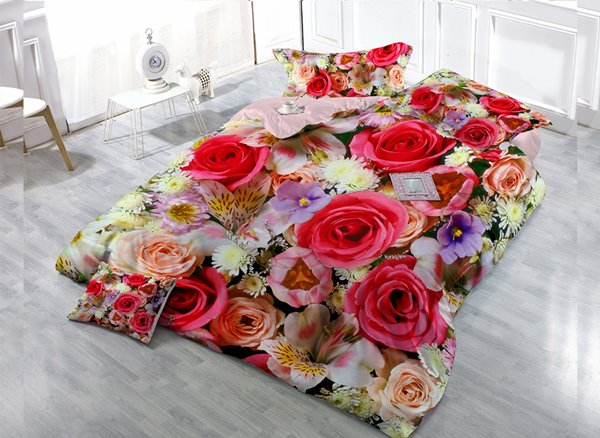 Colorful Rose Covered Duvet Set