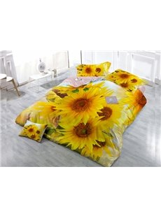 Full-Blown Sunflower  4-Piece High Density Satin Drill Duvet Cover Sets