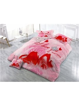 Love You Red Heart  4-Piece High Density Satin Drill Duvet Cover Sets
