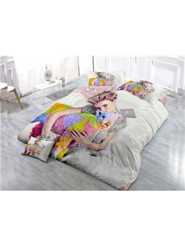 Attractive Girl  4-Piece High Density Satin Drill Duvet Cover Sets