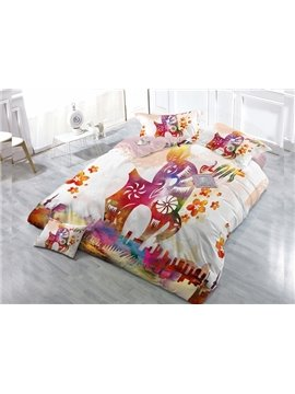 Sika Deer 4-Piece High Density Satin Drill Duvet Cover Sets