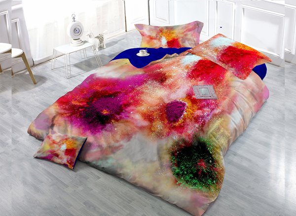 Bright and Colorful 4-Piece High Density Satin Drill Duvet Cover Sets
