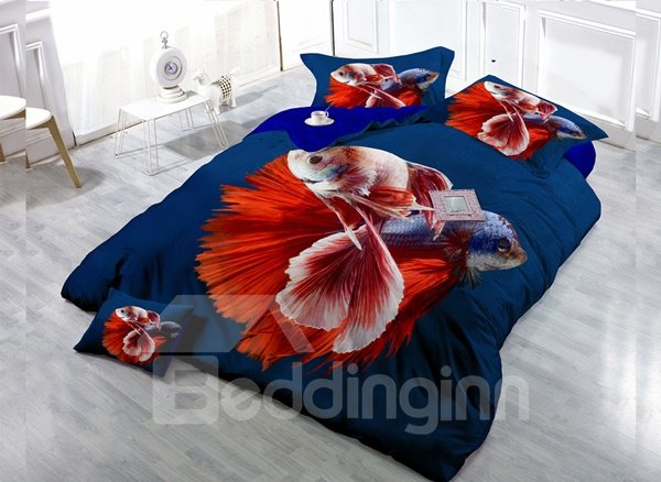 Fancy Fish  4-Piece High Density Satin Drill Duvet Cover Sets