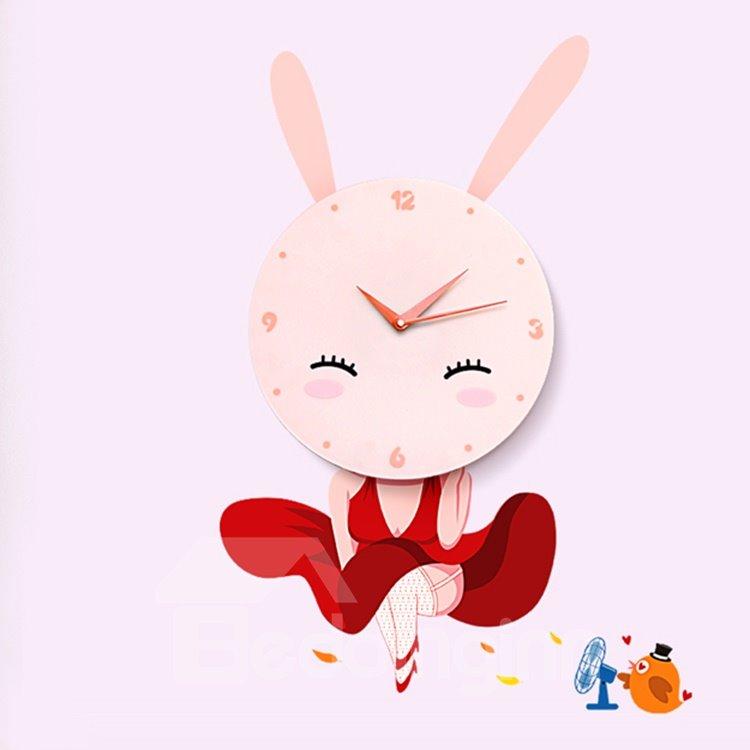 Cartoon Bunny Girl Removable Kids Room Wall Sticker Decal DIY Wall - Wall clock for kids room