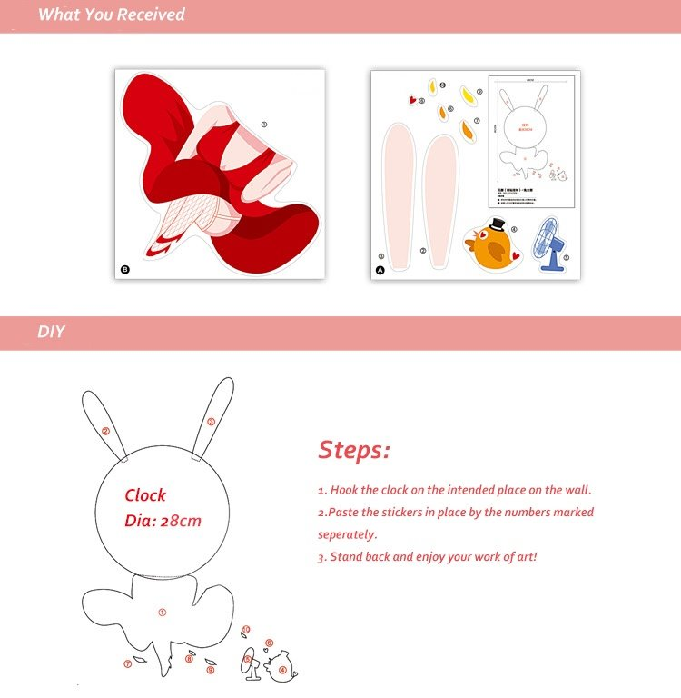 Cartoon Bunny Girl Removable Kids Room Wall Sticker Decal DIY Wall Clock