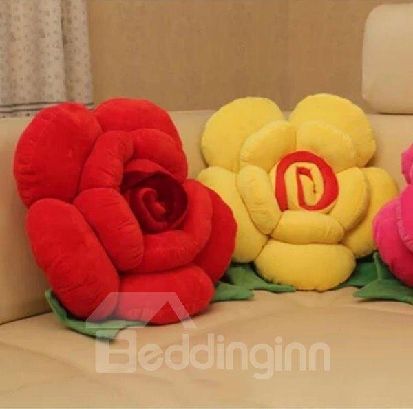 Multicolor Choice Flower Shape Single Throw Pillow