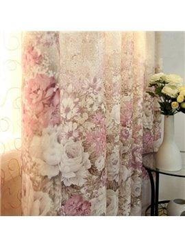 Luxury Peony Pattern Custom Sheer & Cloth Curtain Set