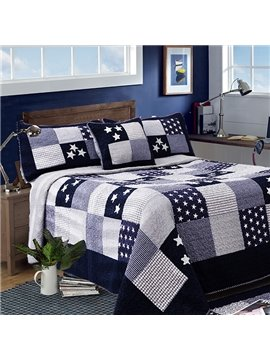 Mediterranean Stars Grid Style Cotton Bed in a Bag