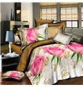Amazing Pink Rose and Ring Print 4-Piece Duvet Cover Sets