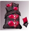 Precious Gift Print and Leopard Pattern on Other Side  4-Piece Polyester Duvet Cover Sets