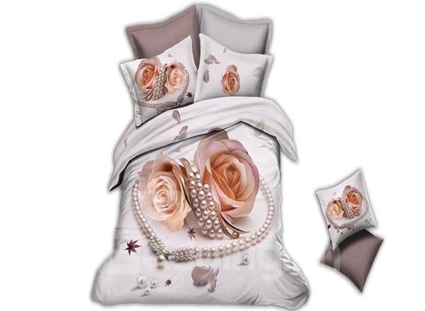Cream Rose and Diamond Print 4-Piece Polyester Duvet Cover Sets