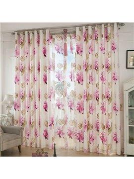 Fresh Big Flower Pattern Grommet Top Curtain and Sheer