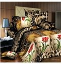 Amazing Red Flower with Border Print 4-Piece Polyester Duvet Cover Sets