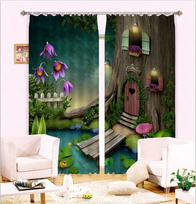 3D Cozy Tree House and Pond Printed Thick Polyester Fantastic Scenery 2 Panels Room Curtain