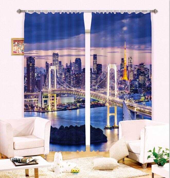 3D Big City Fascinating Urban Night Scenery 2 Pieces Decorative and Shading Curtain