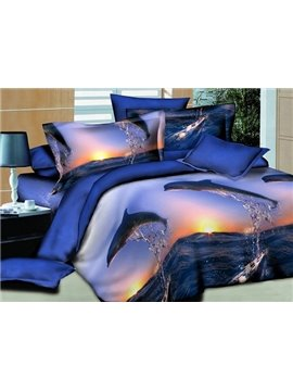 Dolphin Jumping into the Sea Cotton Fitted Sheet