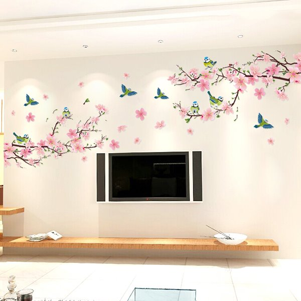 Pink Peach Flowers Branches PVC Waterproof Eco-friendly TV/Sofa Background Wall Stickers
