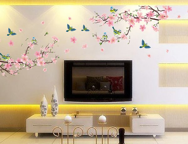 ... Pink Peach Flowers Branches PVC Waterproof Eco Friendly TV/Sofa  Background Wall Stickers ... Part 61