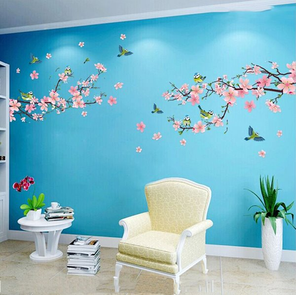 Pink Peach Flowers Branches Pvc Waterproof Eco Friendly Tv