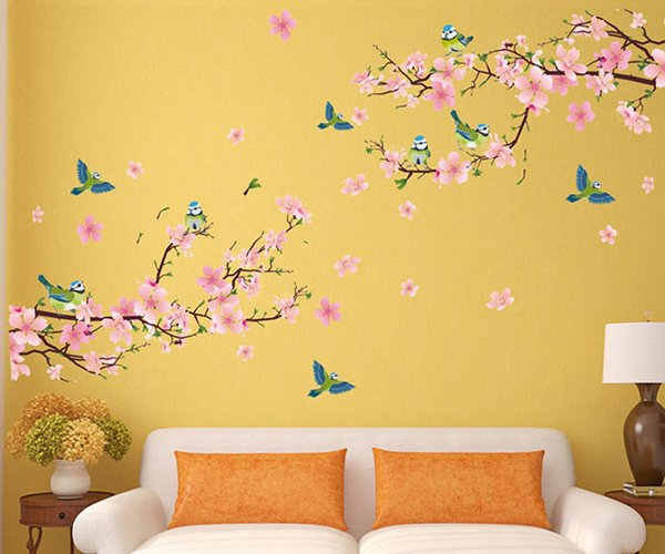 pink peach flowers branches pvc waterproof eco-friendly tv/sofa