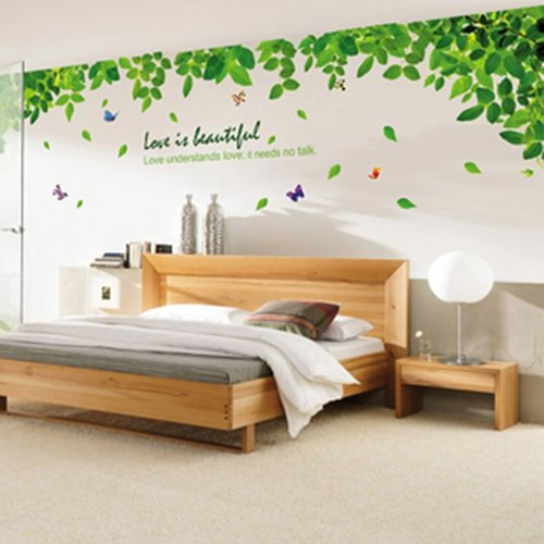 Green Leaves Summer Breeze Wall Sticker Living Room TV Background Stickers