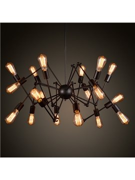 American Style Black Spider Bar Restaurant Iron 18-Head Pendant Lights