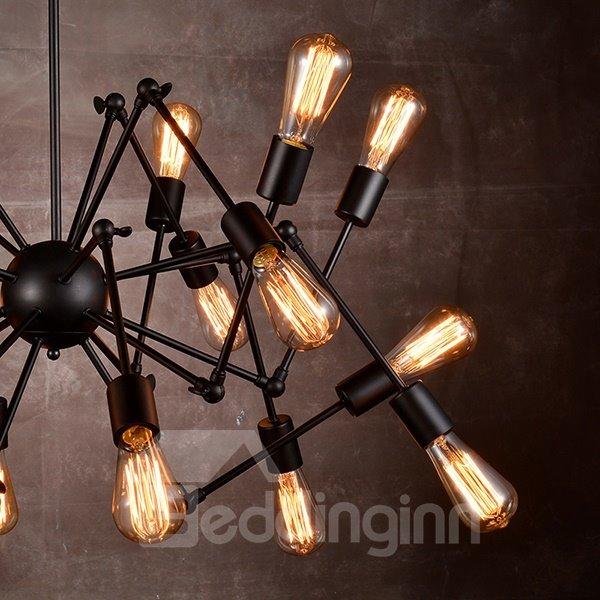 American Style Black Spider Bar Restaurant Iron 18-Head Pendant Lights