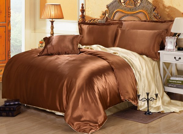 Skin Care Charming 4-Piece Coffee Duvet Cover Sets