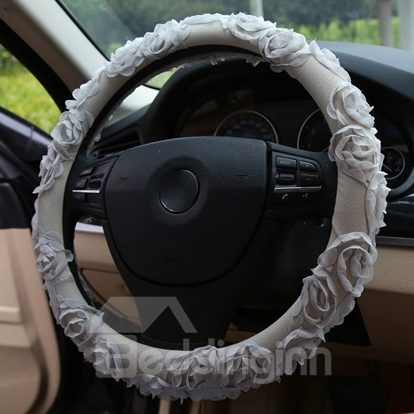 Romantic Lace Roses Steering Wheel Cover
