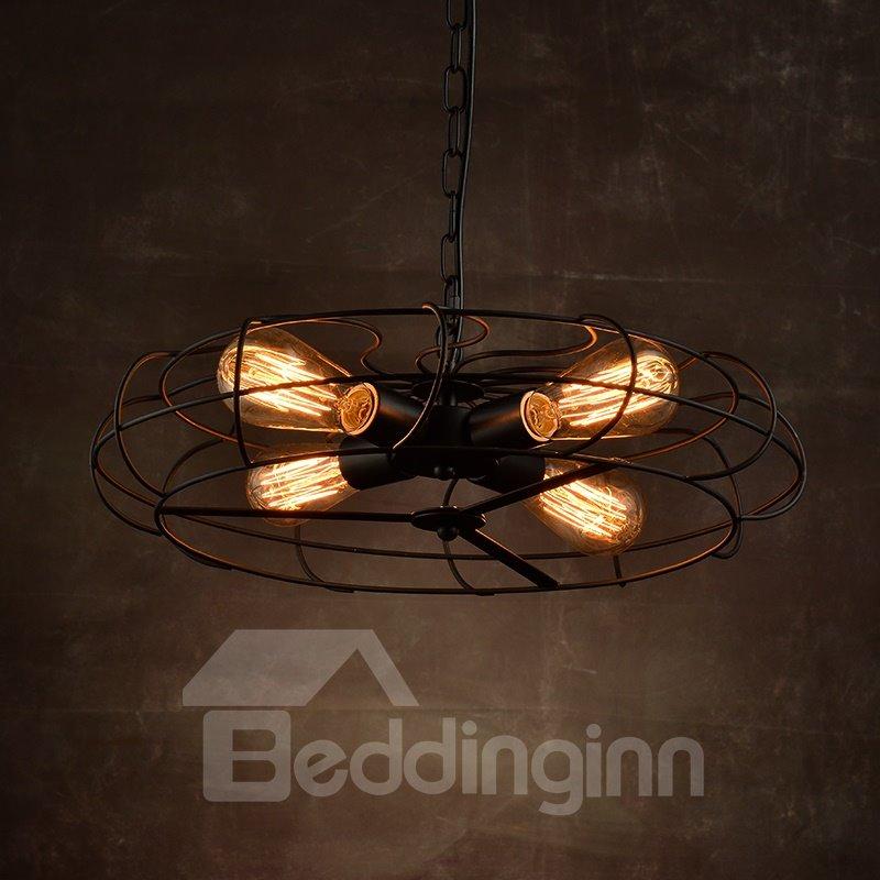 Retro American Country Style Creative Fan Design 4-Head Pendant Lights