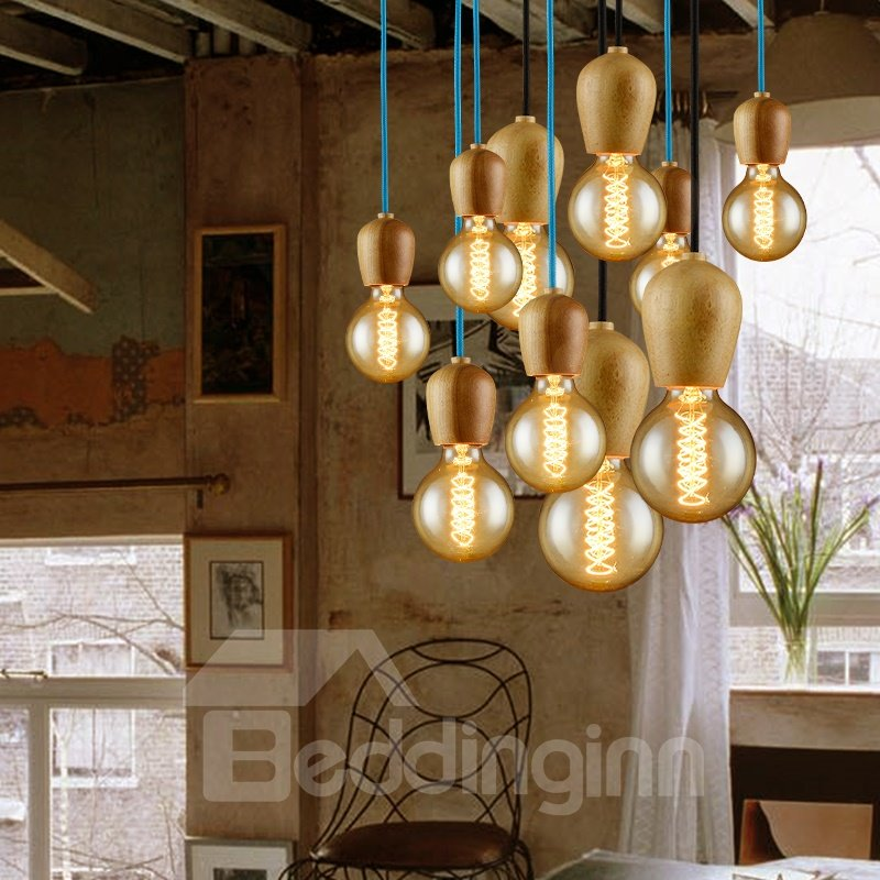 Nordic Creative Dininig Room Wood Pendant Light