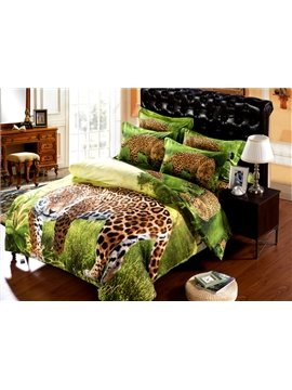 Leopard on Prairie Print 6-Piece Duvet Cover Sets