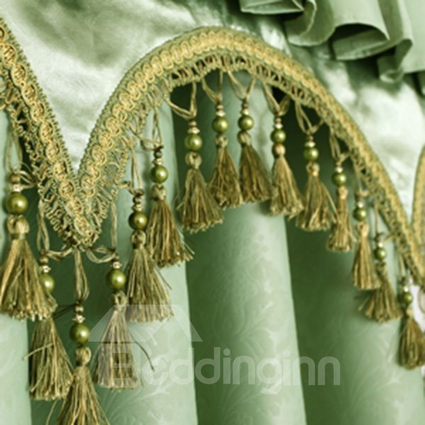 Lively Green Polyester Blackout Shading Cloth and Sheer Curtain Sets with Valance