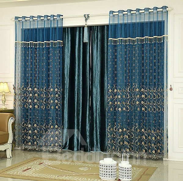 Peacock Blue Flower Embroidered Luxurious Curtain And