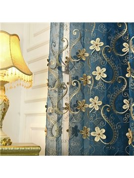 Peacock Blue Flower Embroidered Luxurious Curtain and Sheer