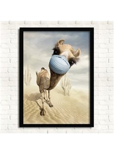Creative Simple Framed Cute Camel in Mask Wall Art Prints