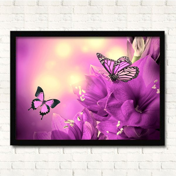Romantic Butterflies in Flowers Wall Prints