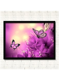 Romantic Butterflies in Flowers Wall Prints