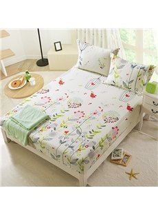 Birds and Flowers with Leaves Cotton Fitted Sheet