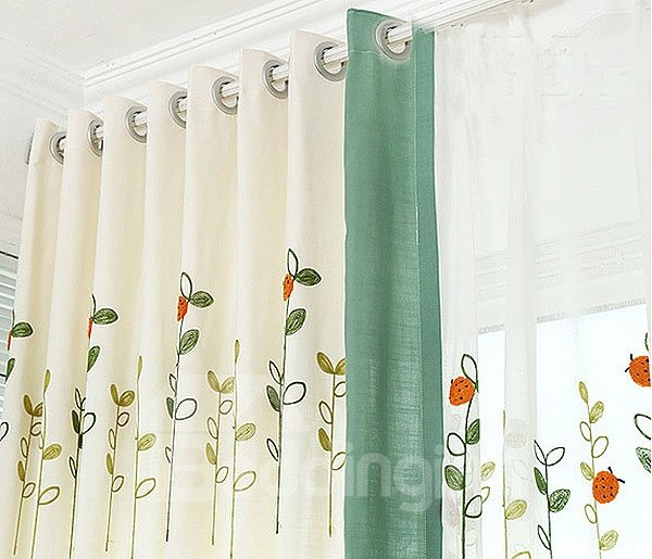 Refreshing Countryside Style Embroidery Art Grommet Top Curtain and Sheer