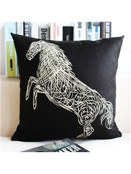 Line Horse Printing Linen Throw Pillow