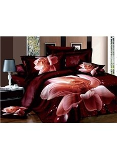 Lifelike 3D Lotus Print One Pair Pillowcases