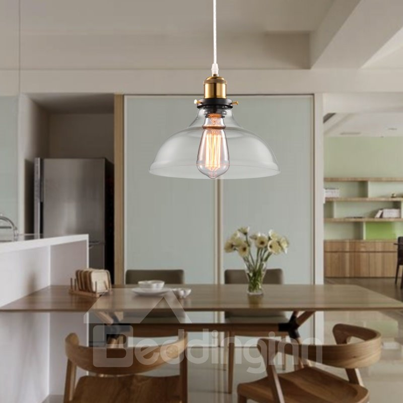 Retro American Country Style Creative Glass Bowl Shaped Pendant Lights