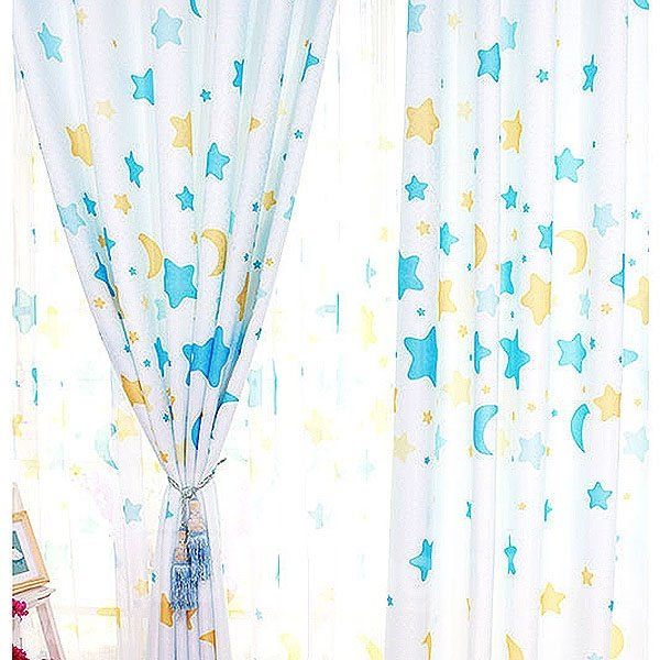 Twinkling Stars and Moon Pattern Grommet Top Curtain and Sheer