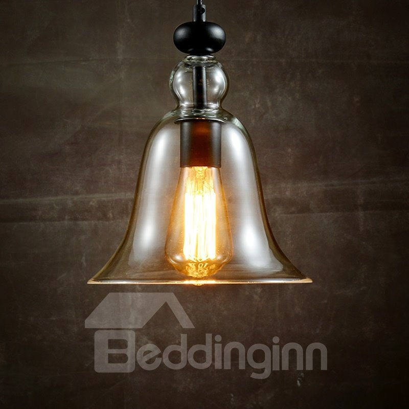 Simple Bell-Shaped Glass Shade 1-Head Pendant Lights